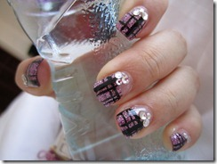 gel nails-purple with black and crystals