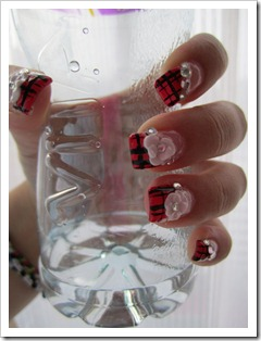 gel nails-red black flower03