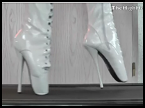 thehighheely-white ballet heels walking on a treadmill