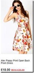Alex poppy print open back prom dress