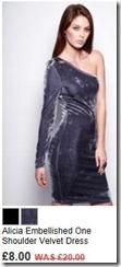 Alicia embellished one shoulder velvet dress