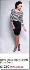 Carrie stripe batwing ponta roma dress
