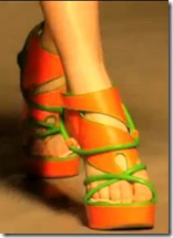 christoper kane-orange shoes