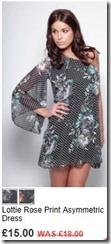 Lottie rose print asymmetric dress