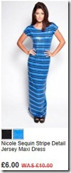 Nicole sequin stripe detail jersey maxi dress
