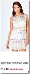 Sandy bow print satin dress