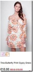 Tina butterfly print gypsy dress