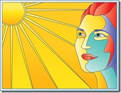 Woman and sun in stained glass